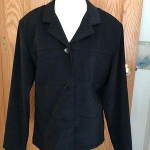 Black suede button down jacket